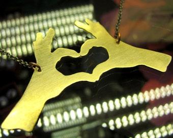 Lg Heart Hands in Brass