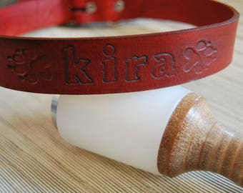 Leather collar for dog personalized