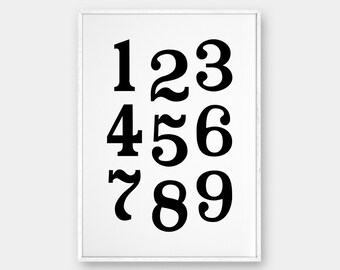 Numbers Wall Art, Printable Poster, Nordic Poster, Scandinavian Poster, Minimalist Decor, Black and White, Printable Art, 50x70 cm, 18x24""