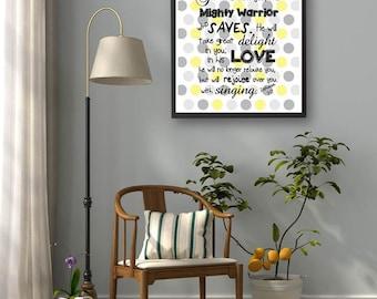 Zephaniah 3:17, Christian Gifts, Bible Verse Printable Art, Scripture Art, Bible Verse Wall Art, Quote Print, Scripture Sign Yellow Gray