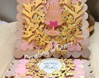 Pink Laurel Wreath Birthday Card