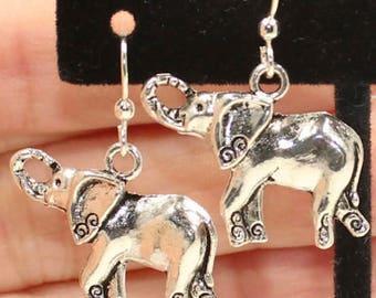 Elephant Earrings, Elephant Jewelry,  Birthday Gifts, Zen Elephant Earrings, Animal Charm Earrings, Silver Elephants E48