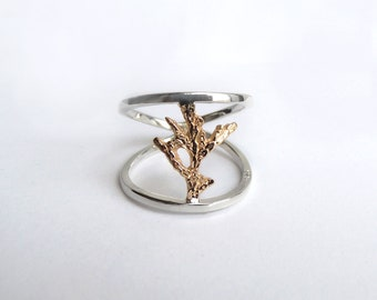 Mixed Metal Cedar Ring - Sterling Silver 925 -  Bronze Brass - Solid Gold - 10k - 14k - Eco-Friendly Sustainable Silver - Made to Order