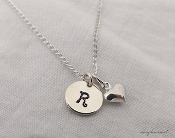 Small Initial Necklace, Christian Jewelry, Sterling Silver Jewelry, Dainty Necklace, Choice of Cross Charm, Heart Charm, or Fish Charm