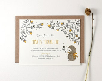 10 Personalized Invitations - Hedgehog and Lemons