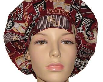 Scrub Hats-Florida State University Seminoles Multi Pattern Print Fabric-Bouffant Scrub Hats-Scrub Hats For Women-Anesthesia Scrub Hats