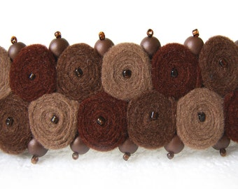 Brown felt hairclip with Czech beads, brown barrette, made from felt