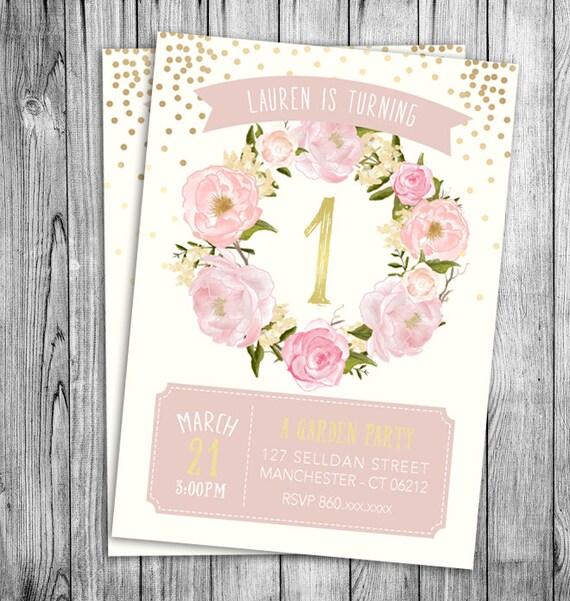 Garden Birthday Invitation First Birthday Girls Party Floral