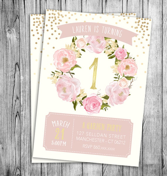 Garden birthday invitation first birthday girls party floral like this item filmwisefo Images