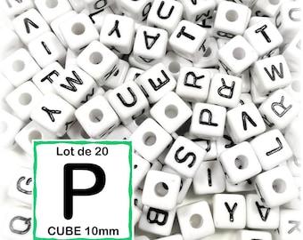 "20 beads 10 mm - 10mm cube letter beads alphabet ""P"""