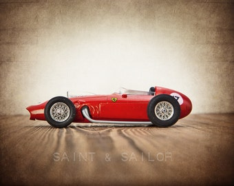 Red Ferrari Vintage Race Car, One Photo Print, Boys Room decor, Vintage Car Prints, boys nursery decor