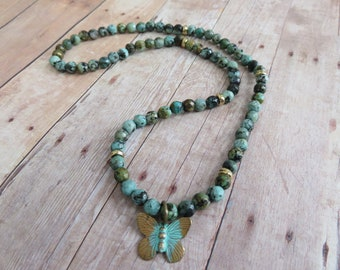 African Turquoise Stretch Necklace, Butterfly Charm Necklace, Earthy Necklace, Beach Wear