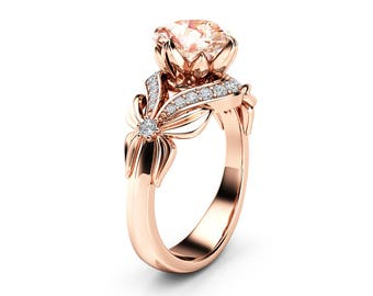2 Carat Morganite Engagement Ring 14K Rose Gold Ring Unique Leaves Engagement Ring