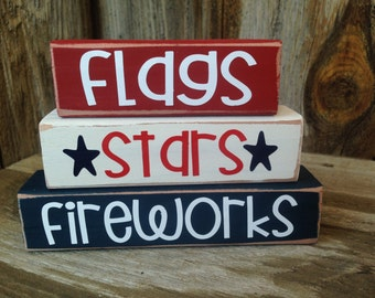4th of JULY, PATRIOTIC, AMERICAN holiday stacking wood home decor seasonal blocks - with vinyl lettering