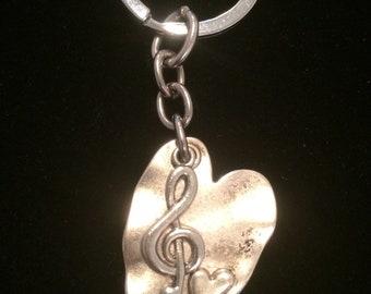 Treble Clef Heart Key Chain