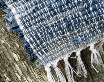 """Clear, Blue Sky- 47""""x27"""" Denim Rag Rug-woven jean rug-woven denim rug-blue jean rug-blue rag rug-jean rug-blue runner rug-denim runner"""