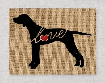 English Pointer Love - Burlap Wall Art Home Decor Print for Dog Lovers - Farmhouse Style Silhouette - Personalized (More Breeds) (101s)