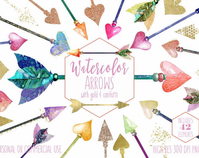 GOLD METALLIC ARROWS Clipart Commercial Use Clip Art Watercolor Arrow Graphics with Gold Glitter Foil Confetti Boho Chic Tribal Graphics