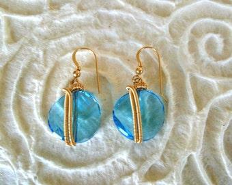 Light Blue Earrings, 14k Gold Filled Earrings,SWAROVSKI, Womens Jewelry, Blue Dangle Earrings, Wire Wrapped Jewelry, Tear Drop Earrings