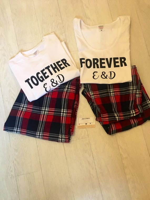 His, hers, Matching PJs, stole her heart, Stealing his last name, Together Forever, His & Hers, Tartan Pyjamas, gift for her, gift for him
