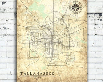 Tallahassee map Etsy