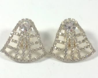 Vintage Rhinestone Crystal Earrings -  Silver Tone Clip On Retro Costume Jewelry 1960s