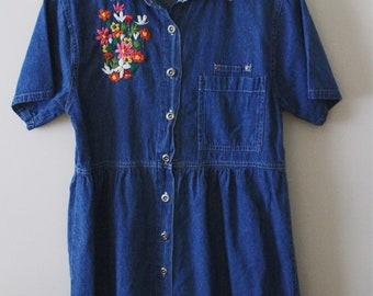 Embroidered Dress Vintage Dress | 90s Dress | Upcycled Denim Dress | Floral Dress | Hand Embroidery