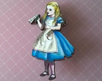 Alice in Wonderland Brooch,Handmade Pin,Accessories,Alice in Wonderland Jewelry