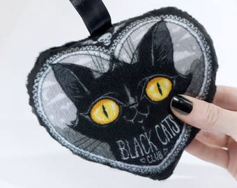 Black Cats Club MINI pillow- Soft minky accessory to hang from bag or halloween tree