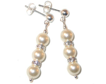 Ivory CREAM Pearl Earrings Bridal Swarovski Crystal Elements Sterling Silver Dangle