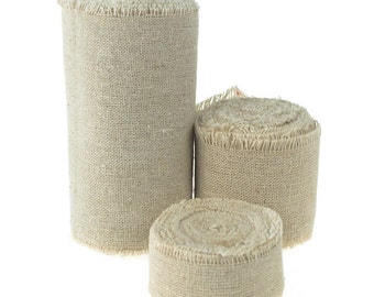 Solid Linen Ribbon with Fringe Edge, 5-yard