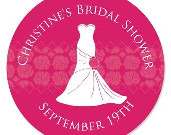 24 Wedding Dress Pink Circle Stickers - Personalized Bridal Shower DIY Craft Supplies
