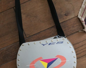 Yes - 9012 Live Vinyl Record Purse with gray sparkle material
