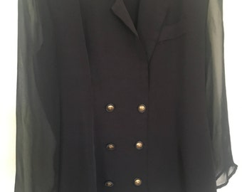 1980s Double Breasted Jacket with sheer sleves