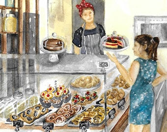 Bakery Breakfast / Watercolor of local bakery full of pastries