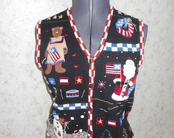 Vintage 90s Ugly Christmas Sweater Party Vest Patriotic Flag Vest Santa Snowman Tacky Gaudy Retro Button Front Sleeveless Womens Small