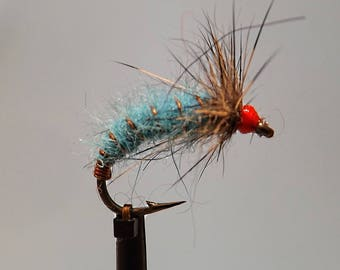 FIVE bright colour 'Irfon Bugs', trout flies, Grayling flies, fly fishing, dry flies, nymph fly, fisherman/woman | fishing gift | present