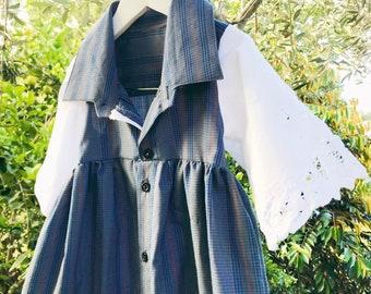Size 3 sustainable shirt dress girls dress ecofriendly repurposed upcycled