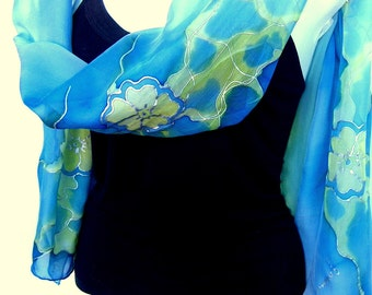 Hand Painted Silk Scarf, Aqua Blue Yellow Mint, Romantic Floral, Silk Chiffon Scarf, Gift For Her