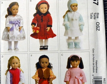Sewing Pattern McCall's 6257 Clothes for 18 inch Doll American Girl  Complete Uncut