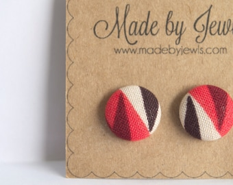 Geometric Earrings - Garnet - Stud Posts - Hypoallergenic - Covered Buttons - Earring Posts - Jewellery - Ivory White - Neon Red - Tribal