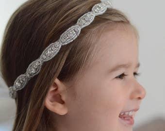Baby headband, flower girl headband, first communion, newborn headband, rhinestone headband, baptism headband, christening headband