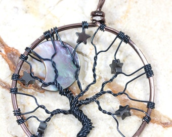 Crescent Moon Stars Gunmetal Tree of Life Pendant Wire Wrapped Jewelry Hematite Night Sky Celestial Necklace Stellar Spooky Tree Halloween
