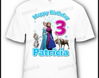 Personalized Disney Frozen Olaf Anna Elsa Flynn Happy Birthday Girl T-Shirt