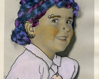 Vintage Altered Photo of Little Girl Turned Punk