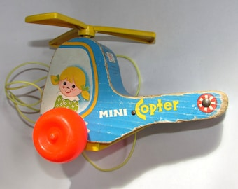 Vintage Fisher Price Mini Copter Pull Toy, 70s, helicopter, home décor, childs room, display