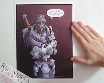8.5x11 Turian Armor, Mass Effect Humor, Comic Art Print