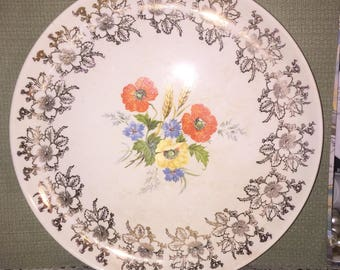 Dinner Plates French Saxon Union Made USA 22K Gold Embellished; Antique dinner plates & Vintage one Lunch Plate French Saxon China Union Made Made