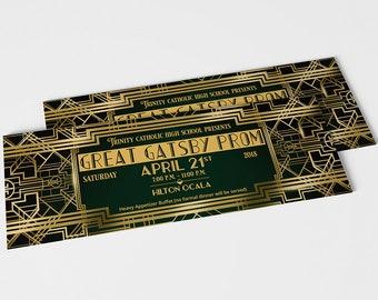 Great Gatsby Prom Ticket Stub