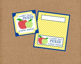 Apple Teacher Gift Tags for Back To School. I Couldn't Have Picked A Better Teacher! Bag Toppers and Gift Tags. Instant Digital Download